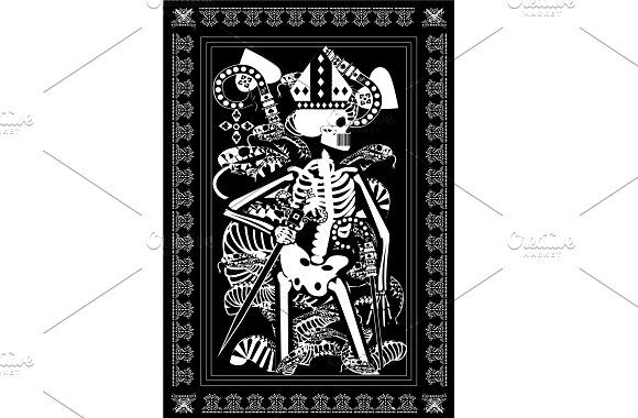 King Card Tarot With Skull Snakes A By Teagraphicdesign King Card Tarot Black And White Background