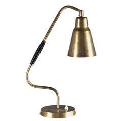 Early desk lamp in brass and wooden handle by Bergboms
