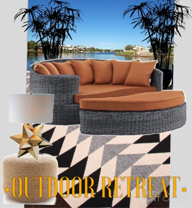 Outdoor living inspo | all products @ www.shadesoflight.com #waterfront #outdoorliving #outdoorrug #outdoorlamp #transitional #daybed #lounge #relax