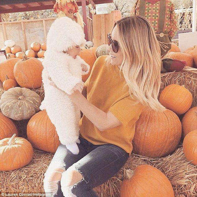 This little lamb': Lauren Conrad took her baby boy Liam James to his first ever pumpkin pa...