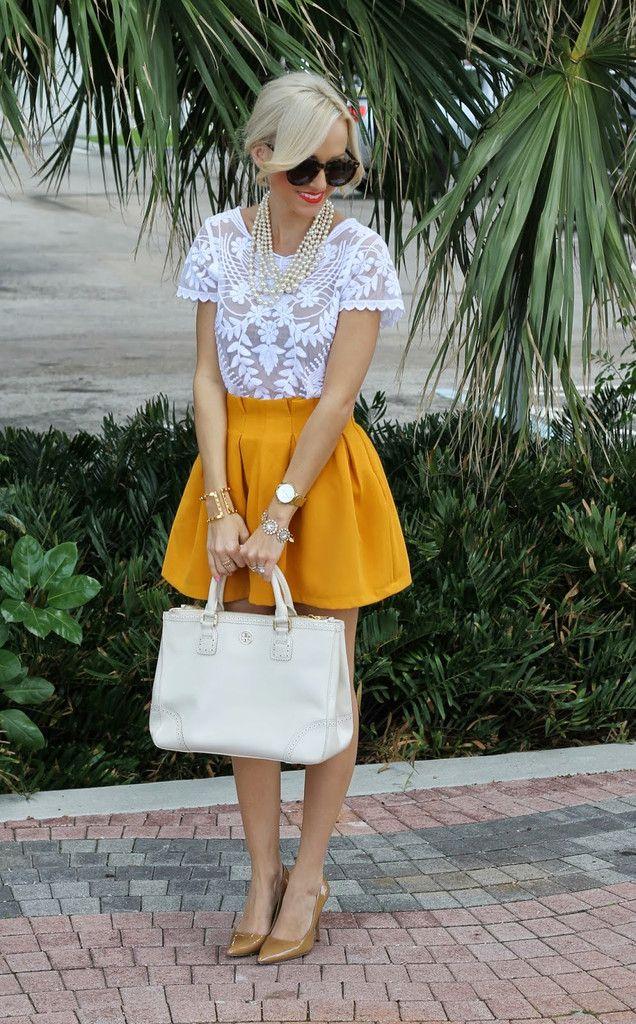 Cute skater skirt in #mustard http://rstyle.me/n/hxa7enyg6