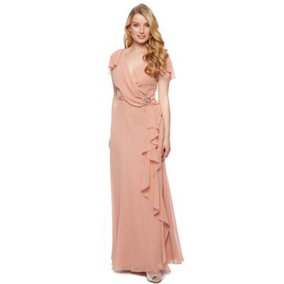 No. 1 Jenny Packham Designer dark peach drape front maxi dress- at Debenhams.com