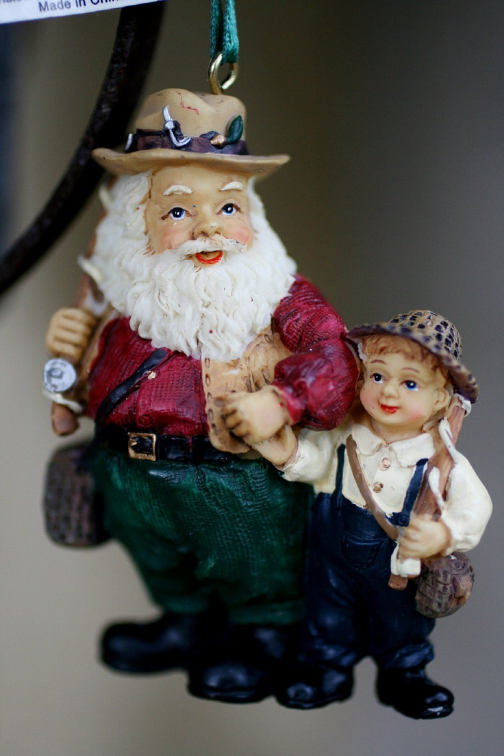 Santa And Boy Fishing Ornament, Ceramic Santa Ornament, Fishing Santa