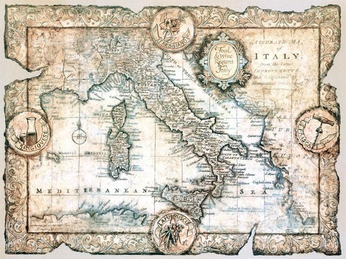 mappa dell' italia  - John Douglas - STAMPA SU TELA € 31,08