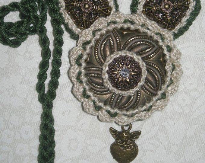 Ожерелье вязания крючком, ювелирные изделия, ожерелье, старинные украшения, ангельские крылья, сердце ангела