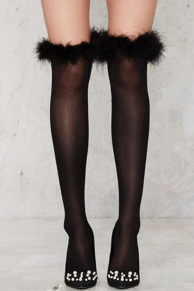 Feather Forecast OTK Socks - Accessories | Socks + Legwear | Party Shop | Fur