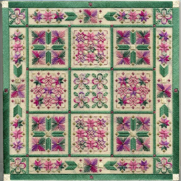 """Floral Boxes 12"""" x 12"""" on 18 ct eggshell canvas Pattern: $16.00 (includes beads) - by Laura J Perin Designs"""