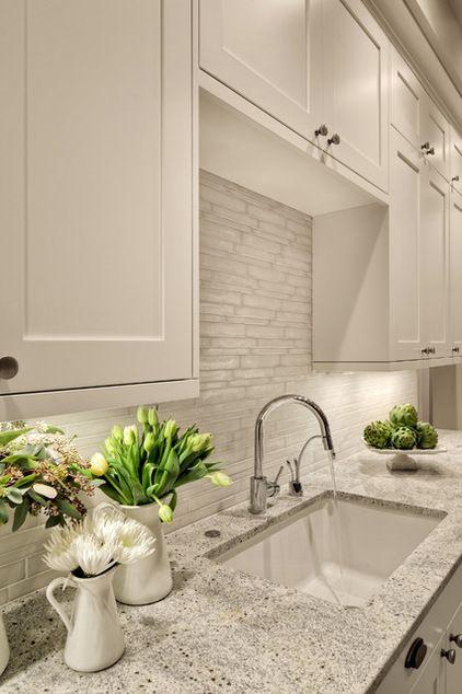 White kitchen, cabinet style, countertop, chrome fixture, fresh details: