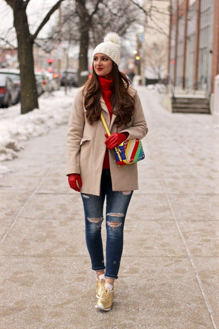 Colorful and casual winter outfit, White pom beanie, rainbow purse, gold reebok sneakers