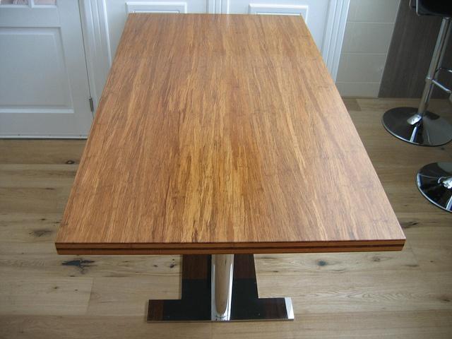 Bamboe tafel met RVS onderstel