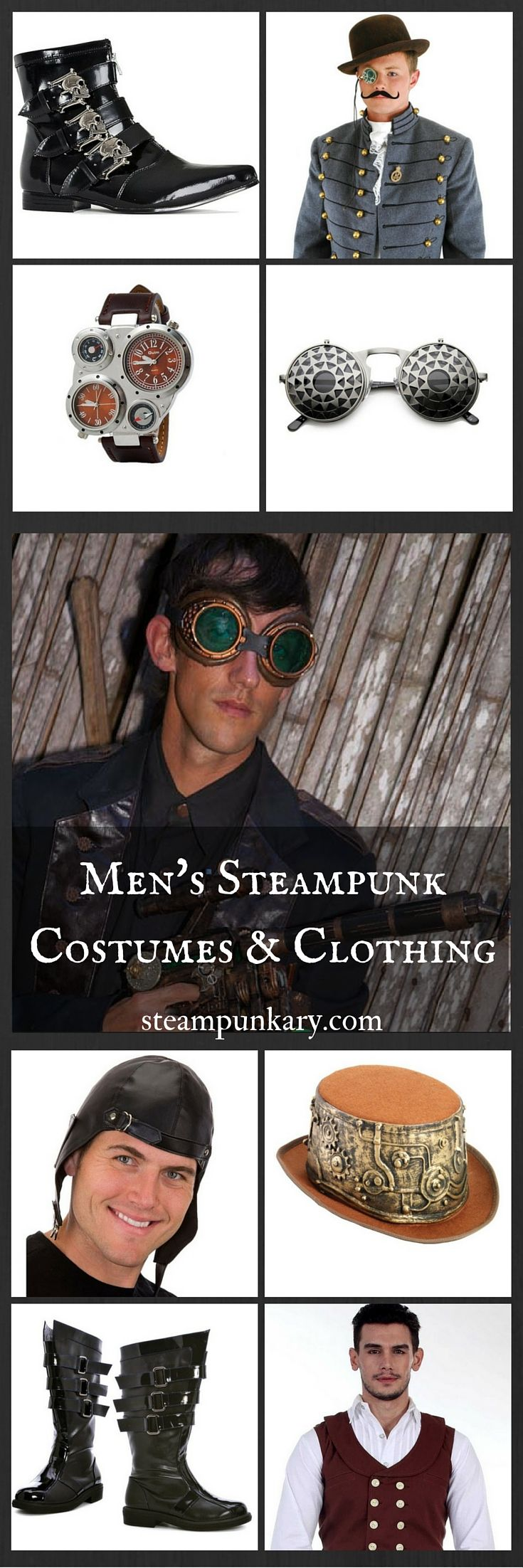 The unique style of dress associated with the Steampunk costume for men can make a great Halloween costume, or an interesting and eclectic fashion statement.