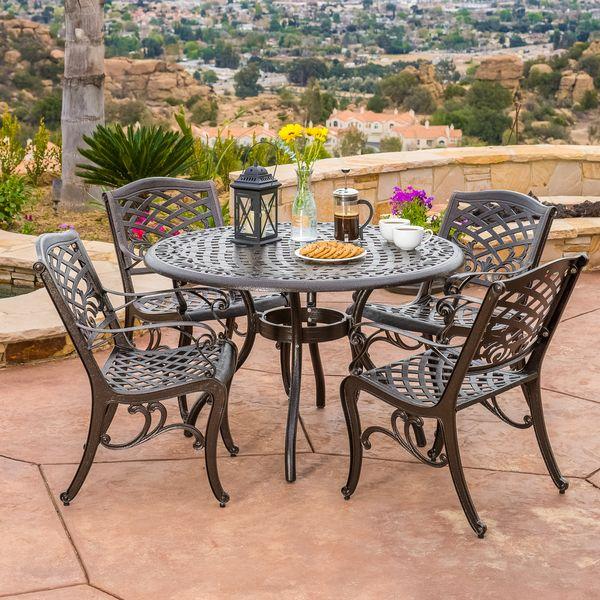 Outdoor Hallandale 5 Piece Cast Aluminum Bronze Dining Set 640 x 480