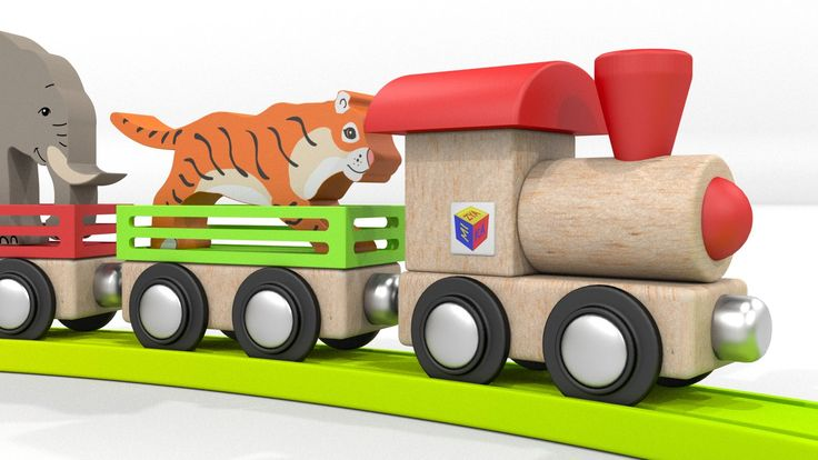 Los animales salvajes para niños. Los trenes para niños. Dibujos animado...