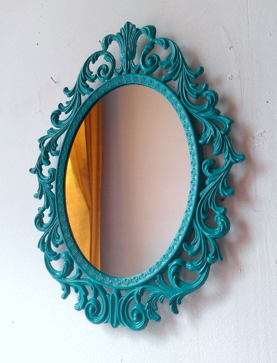 Can we bring in teal through accessories rather than couch pillows?    Fairy Princess Mirror  Ornate Vintage Frame by SecretWindowMirrors, $45.00