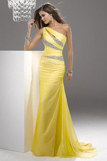 2013 Mermaid One Shoulder Sweep/Brush Chiffon Prom Dresses New Designed LBPPH5E7DAK - BrandPromDresses.com for mobile