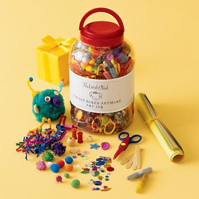 """Love the name of this...""""I'm Not Bored Anymore Art Jar"""". We'll need this. #TheLandOfNod"""