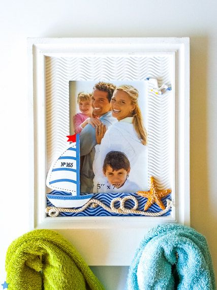Coastal Art - Nautical Photo Frame with Sailboat and Starfish - Coat towel Rack - Beach House Wall Decor - Ocean Decor - 5x7 inch