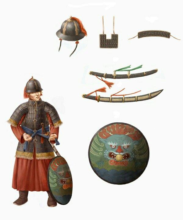 팽배수 which similar to Roman legions. They wear larmellar, mail or plate with mail and use sword and shield.