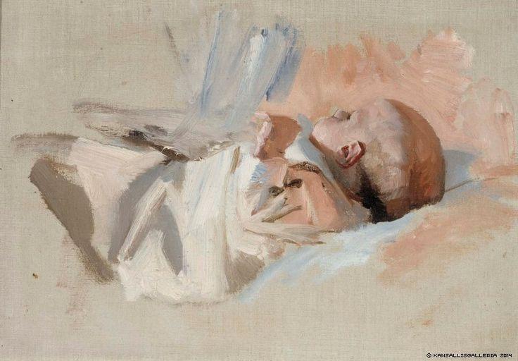 Albert Edelfelt (1854-1905) Makaava lapsi, luonnos maalaukseen Jouluaamu / Lying child, sketch painting of Christmas Morning 1888 - Finland