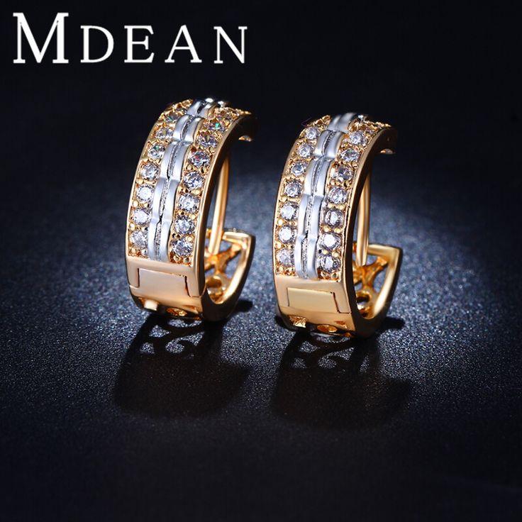 Mdean gold plated wedding bông tai cz diamond trang sức hoops earrings đối với phụ nữ phụ kiện thời trang miễn phí vận chuyển mse026