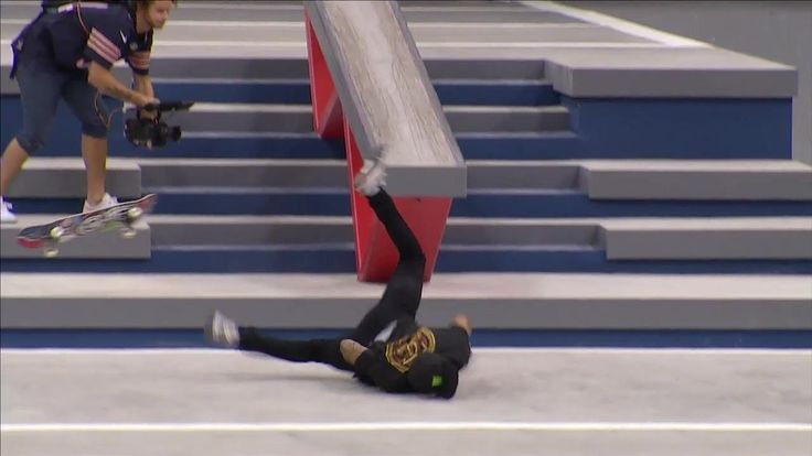 Nyjah Huston wipes out trying to catch Luan Oliveira - SLS Stop Two: New Jersey Highlights