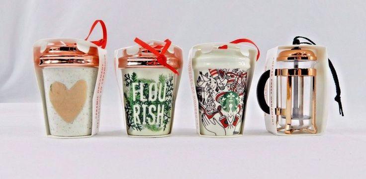 4 Starbucks 2017 Holiday Christmas Tree Ornaments Flourish Rose Heart Mug Press #Starbucks