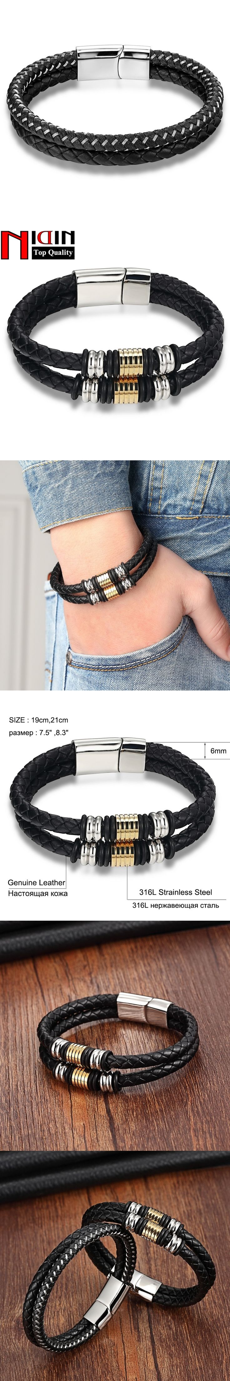 Gold Vintage Fashion Stainless Steel Chain Female Genuine Leather Bracelet Men Vintage Male Braid Jewelry for women Double layer