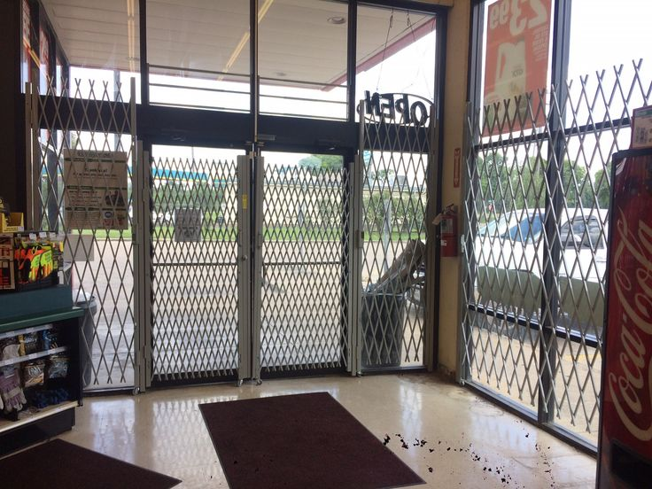 Our latest retailer in the Houston area, secured with our powder coated gray Xpanda security gates.