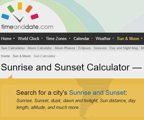 Sunrise and Sunset Calculator
