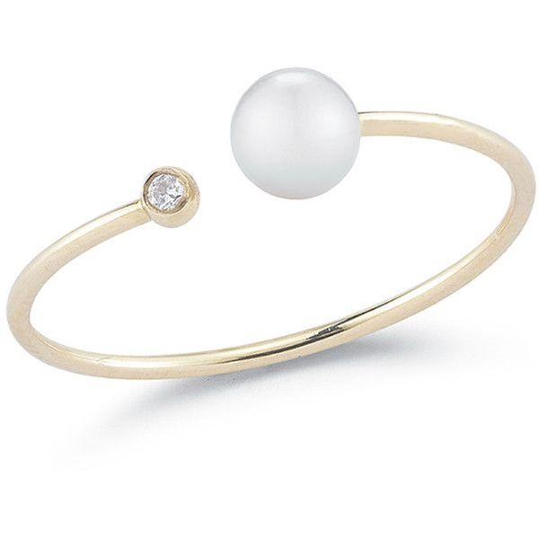 Mizuki Open Pearl Diamond Bezel Ring (8,320 MXN) ❤ liked on Polyvore featuring jewelry, rings, diamond bezel ring, pearl jewelry, bezel diamond ring, mizuki jewelry and bezel set diamond ring