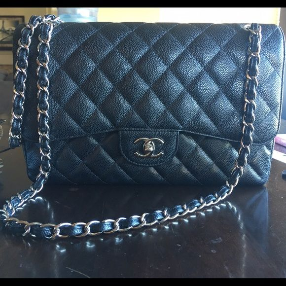 Chanel Jumbo Flap Black caviar leather SH EUC jumbo double flap. no scuffs. no tears. no rips. no odors. 149 series. for more detailed pictures, please ask. serious inquiries only. also, I am no longer negotiating on my listings. you may make an official offer if that's how you wish to complete transaction or you can email me : caitlin . sullivan at me . com CHANEL Bags Shoulder Bags
