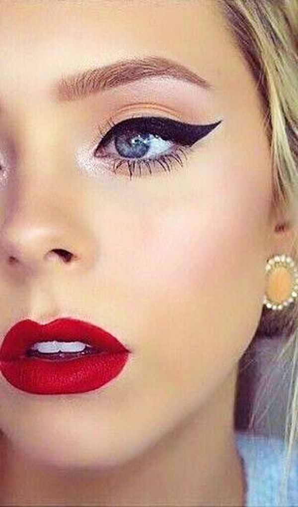 Red Lips Bold Liner Highlighted Blush Makeup For