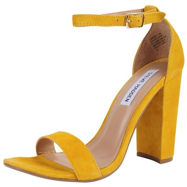 Steve Madden Carsson (595 DKK) ❤ liked on Polyvore featuring shoes, sandals, heels, yellow, yellow high heel sandals, heeled sandals, open toe high heel sandals, high heel sandals and suede shoes