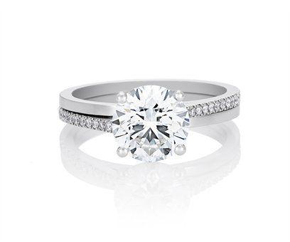 Bague diamant Solitaire De Beers Promise à double jonc lisse et micro-pavage
