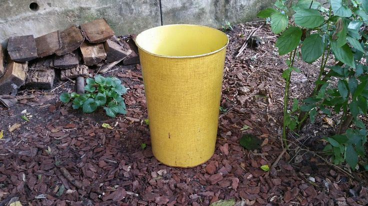 Vintage Bright Yellow Industrial Waste Basket NESCO by GladStoneatHome on Etsy