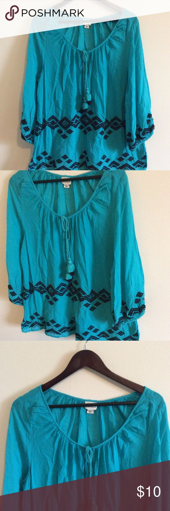 Stylus Tassel Peasant Top  XL Size XL 100% Cotton Boho peasant Blouse Stylus Tops Blouses