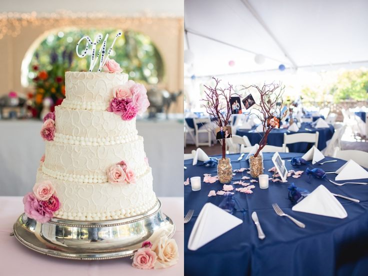 Navy and Pink Fall Wedding