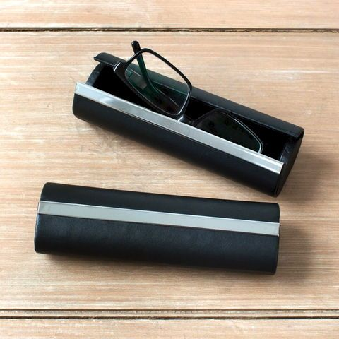 Black Leather Modern Glasses Case A Great Christmas Gift
