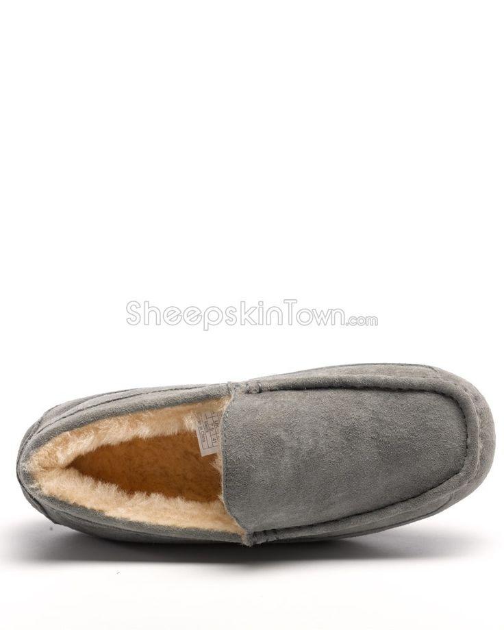 Parker Men's Grey Indoor/Outdoor Shearling Slipper: Sheepskin Town