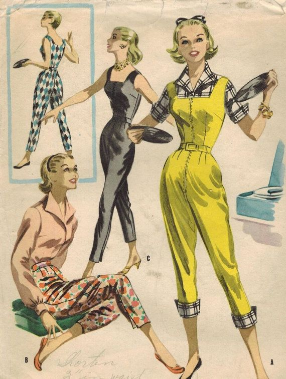 1950s McCall's 3415 Vintage Sewing Pattern Misses Blouse, Pants, Jumpsuit Size 14 Bust 32