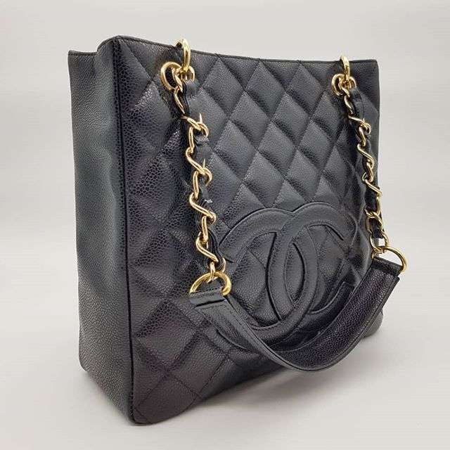 2800 Wire Preloved 95 New Chanel Petite Shopping Tote Black Caviar Gold Hardware Serial Code Starting With 122 Full Set Shopping Tote Gold Hardware Chanel