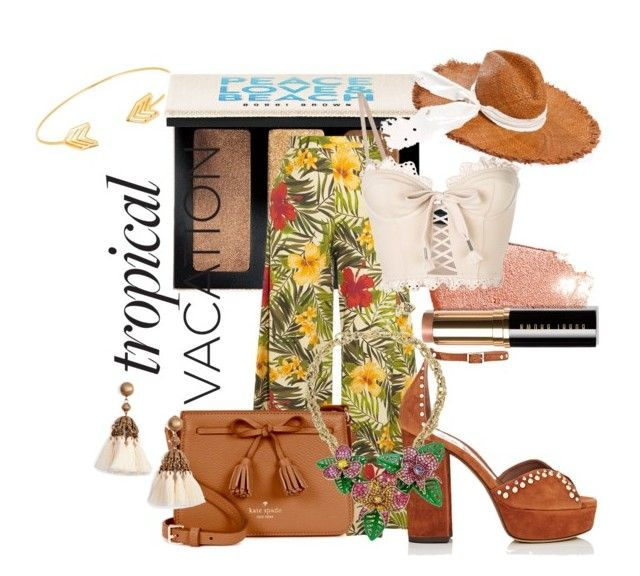 """Tropical Vacation"" by queenofelegance ❤ liked on Polyvore featuring Lord & Taylor, Bobbi Brown Cosmetics, Miguelina, Puma, Tabitha Simmons, Kate Spade, Loren Hope, Michael Stars and Betsey Johnson"