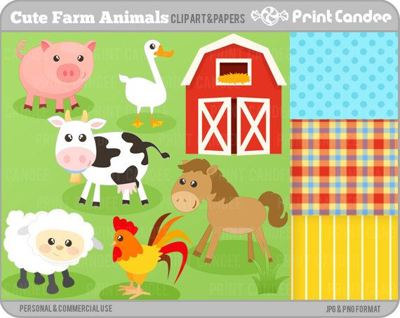 Simpatici animali della fattoria - animali da cortile Digital ClipArt - personali e l'uso commerciale - mucca maiale cavallo di granaio gallo