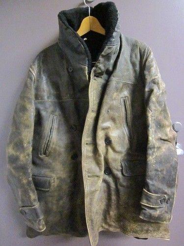 Vtg Mens Hercules Distressed Horshide Leather Car Coat Barnstormer Jacket