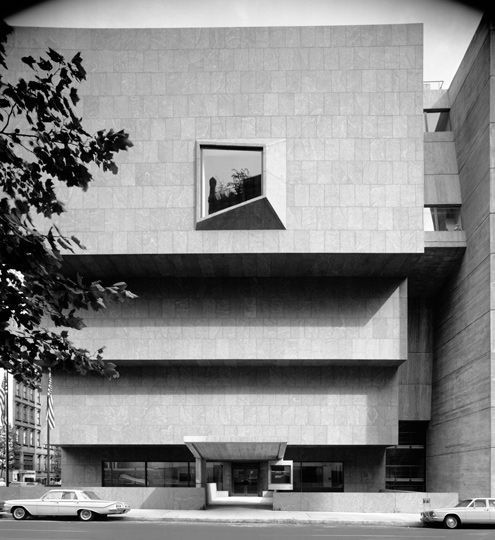 Marcel Breuer's landmark building at 75th Street and Madison Avenue, formerly home to the Whitney Museum of American Art, 1963. © Ezra Stoller / Esto