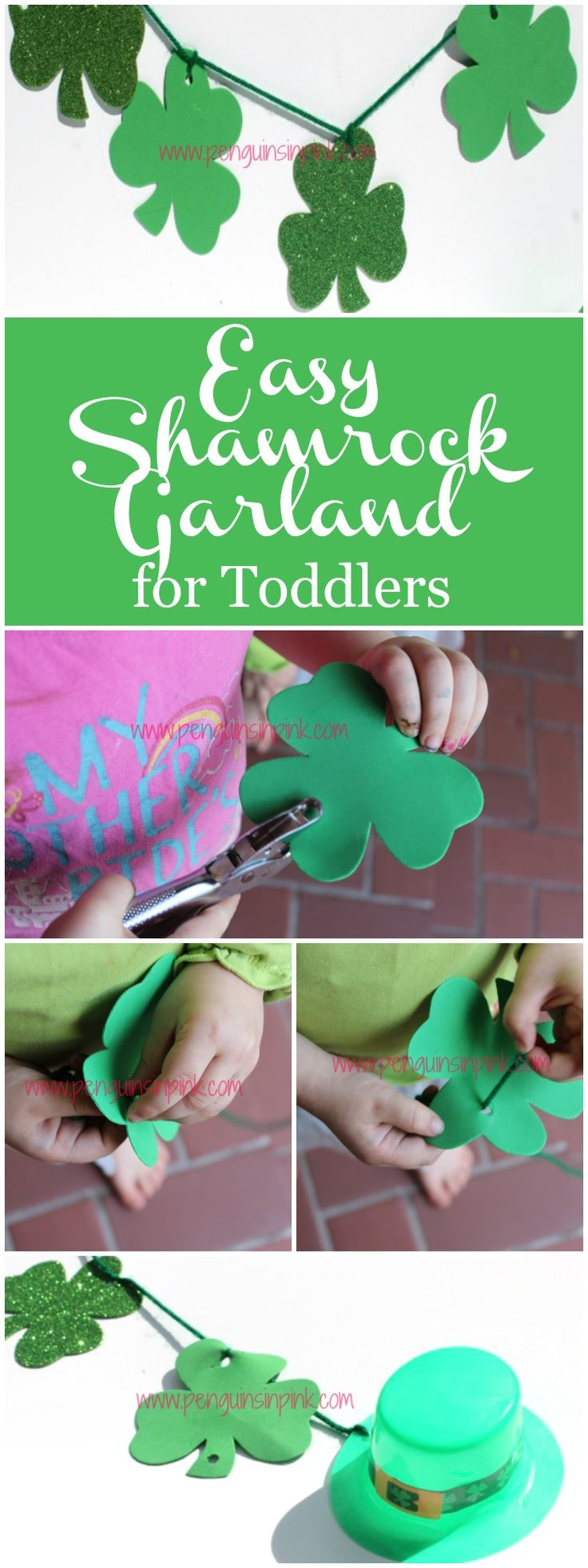 Easy Shamrock Garland for Toddlers - A fun, simple St. Patrick's Day shamrock garland that's easy enough for toddlers to make. Plus it exercises their fine motor skills.