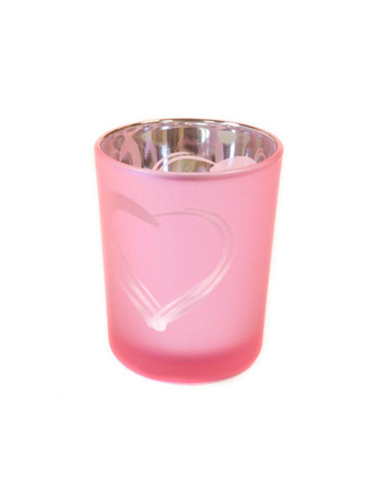 Portacandele in vetro smerigliato rosa con cuore su VegaooParty, negozio di articoli per feste. Scopri il maggior catalogo di addobbi e decorazioni per feste del web,  sempre al miglior prezzo!