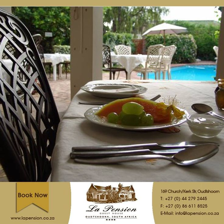 Enjoy a bit of birdwatching as you indulge in a wonderful breakfast served out at the swimming pool #lapension #oudtshoorn #karoo #accommodation