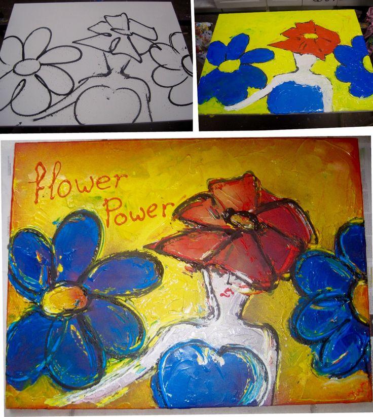 Canvas bewerkt met spuitbus en acrylverf. Gemaakt in workshop bij Geoffrey Wine.
