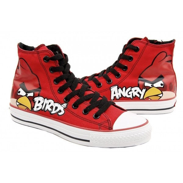 Angry Birds High Top Canvas Shoes Red Birds Shoes,High-top Painted Canvas  Shoes